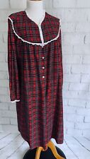 Lanz Of Salzburg Flannel Nightgown XL Red Plaid Cotton Long Sleeve Eyelet Lace