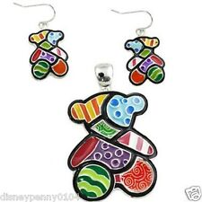Colorful Enamel Patchwork TEDDY BEAR Pendant & Matching Earrings-2""