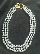 KJL KENNETH JAY LANE 3 STRAND GREY PEARL NECKLACE w GOLD KJL CLASP-19 in