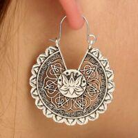 Gipsy Hippie Design Lotus Blüte Ohrringe Ohrhänger Creolen  Silber plattiert