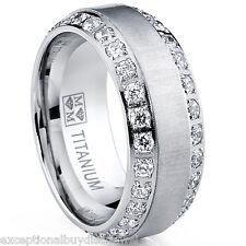 MENS OR WOMENS eternity TITANIUM LCS. DIAMOND WEDDING BAND RING SZ 9 + GIFT