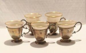 @ Antique WEBSTER Sterling DEMITASSE Cups LENOX Liners set 5 HALLMARKED 3.5 oz *