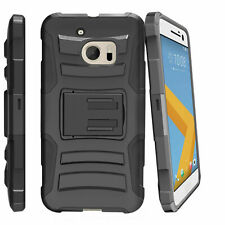 For HTC One M10 Holster Clip Black Heavy Duty Case with Built-in Kickstand