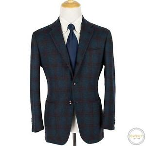 LNWOT Kiton Blue Red 100% Cashmere Tweed Boucle Checked Patch Pkts Jacket 42R