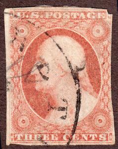 USA,  10-A, Orange Brown, 3¢, Light Cancel George Washington  1853 early