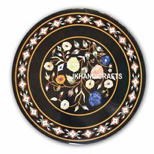 "36"" Round Marble Random Dining Table Top Floral Marquetry Inlay Bedroom Decor"