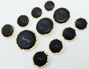 YSL Yves Saint Laurent Gold Metal Blazer Buttons Set