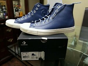 Converse Chuck Taylor All Star Hi Blue Leather Sneaker Navy Indigo Men 9 163338C