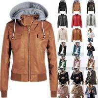 Womens Leather Jacket Biker Zipper Punk Motorcycle Coat Winter Casual Outwear US