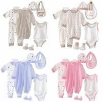 5Pcs Kids Baby Clothes Romper Bodysuit Unisex Outfit Tops + Pants + Bib + Hats