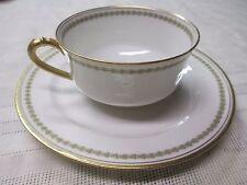 Set of 2 Haviland & Co France Limoges Gold Leaf Tea Cups Saucers Green Ring
