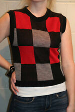 S NOS BLACK RED GRAY COLORBLOCK KNIT VTG 70s NEW YOU BABES SWEATER VEST TOP