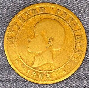 1863 Haiti 20 Centimes Coin Vingt Centimes
