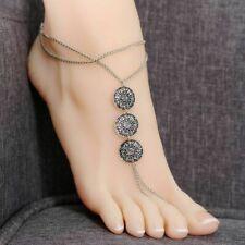 "Vintage Style Boho 925 Sterling Silver 8 - 10"" Beach Sandal Ankle Foot Bracelet"