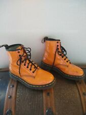 Preowned DR MARTENSMade in UK 6 US 8 Womens Patent Leather Vegan Orange England