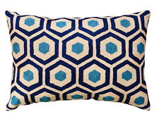 "Lumbar Seamless Navy Turquoise Accent Pillow Cover Handembroidered Wool 14""x20"""