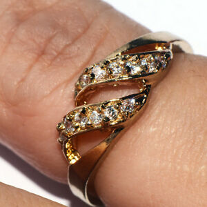 Gorgeous 9K Gold Filled Crystal CZ Hollow Ring for Womens Girls Ladies Size 7