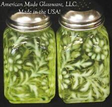 Vaseline Opalescent Glass Daisy & Fern Salt & Pepper Shaker Set