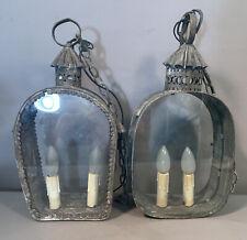 Pair (2) Antique 19thC Victorian PRIMITIVE Old TINWARE Hanging LANTERN Tin LAMP