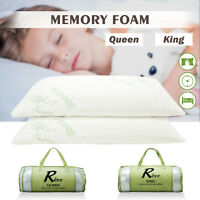 Set of 2 Queen/King Size Bed Pillow Memory Foam Hypoallergenic w/ Carry Bag