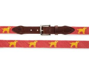 Yellow Dog Nantucket Vineyard smathers of Retriever lab Mens Needlepoint Belt 32