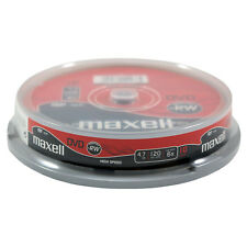 10 MAXELL DVD-RW Rohlinge 6x Full Speed 4,7GB in Spindel