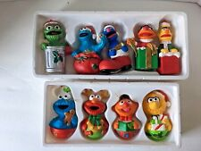 Vintage Sesame Street Ornaments Christmas Tree Trim Lot 2 Box Set - 9 Pcs. Henso