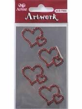Artoz Cristal Rojo Doble Corazones Artesanales Adornos pegatinas de creación de tarjetas