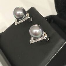 AAA Round Gray Akoya Pearl Diamond Paved Stud Earrings 14K White Gold Plated