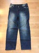 Thug Life Big Up Loose Baggy Mens Denim Jeans (size 34, dark blue)