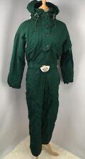 Bogner Women's Ski Suit Dark Green VTG 90s Hooded Snowsuit Sz 6 Snow Flightsuit