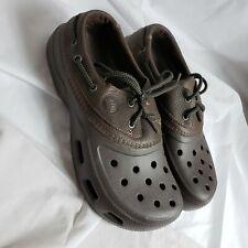 Crocs Men Size 7 Islander Pit Crew Boat Shoes Lace Up Clog  Brown Leather