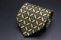 LUCIANO BARBERA Silk Tie. Blue Green Yellow Floral Check. Made in Italy.