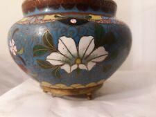 Vtg Cloisonne Enamel Brass Floral Art Design Asian Decor Footed Bowl Pot Urn
