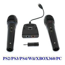 6in1 Microphone Set - 2x + Singstar Adapter for PS2 PS3 PS4 Wii XBOX 360