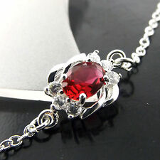 FSA432  GENUINE REAL 925 STERLING SILVER S/F LADIES RUBY XL BRACELET ANKLET