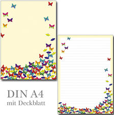 Schreibblock bunte Schmetterlinge A4 25 Blatt Briefpapier Motivpapier Briefblock
