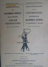 1934 McCormick IH Deering Cream Separators Instruction Book Manual Original
