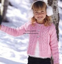 (647) DK Knitting Pattern for Girls Cardigan with Heart & Bobble Cables, 22-32''