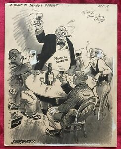 A TOAST TO DEWEY'S DEFEAT - 1938 POLITICAL CARTOON by JERRY COSTELLO
