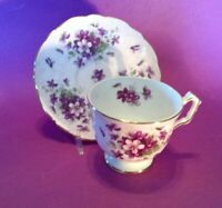 Aynsley Pedestal Tea Cup And Saucer - White With Purple Violets - England
