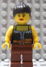 LEGO Pirate Castle Girl Female Dark Green Torso Black Hair Robin Hood