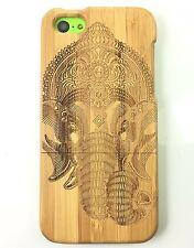 iPhone 5c Bamboo Wood Case ( Elephant Indian God Engraving ) 100% Wood Cover✔️