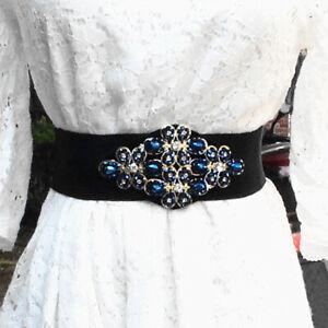 Women's Floral Beaded Crystal Elastic Waist Belt Corset Waist Belt Stretchable