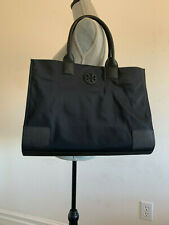 NWT TORY BURCH ELLA NYLON BLACK LEATHER LARGE TOTE SHOULDER BAG HANGDBAG