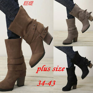 Women Block Heel Mid Calf Boots Chunky Heel Retro Buckle Shoes Slouch Boots Size