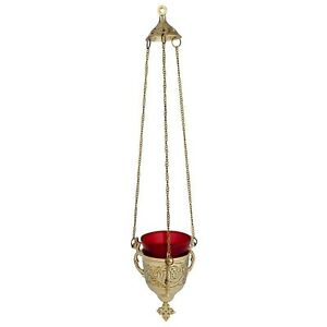 N.G. Brass Hanging Candle Holder with Red Glass Votive Holder for Church Supply