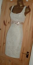 Cream gold vintage pencil wiggle shift cocktail evening party bow dress sz 10 12
