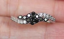 New Sz8 10K 1/2ct Black & White Diamond Swirl  Engagement Ring White Gold