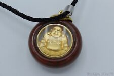 Crystal-Imitate Pendant 999 Gold Plated Happy Laughing Buddha Feng Shui Necklace